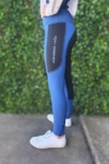 youth riding tights winter blue left side performa ride