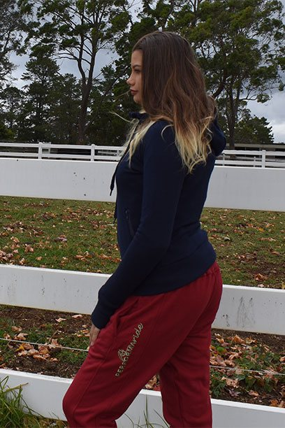 performa ride burgundy tracksuit horse riding pant
