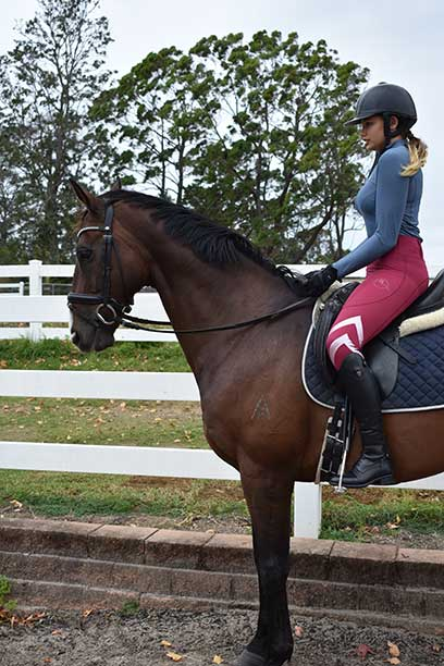 performa ride burgundy flexion horse riding tights side