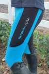 contrast seat winter thermal horse riding tights aqua front left performa ride