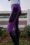 contrast seat winter thermal horse riding tights purple left performa ride