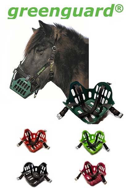horse grazing muzzle banner greenguard