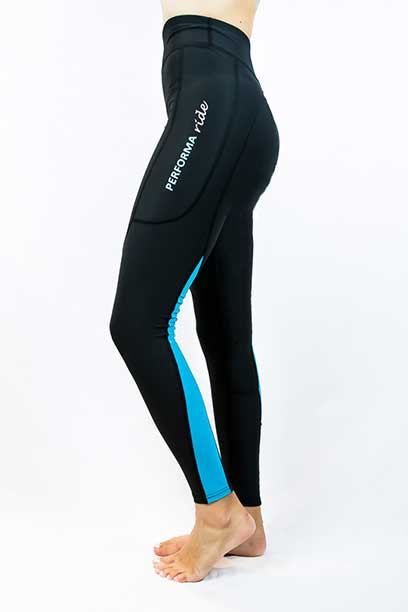 horse riding tights winter thermal colour block aqua performa ride