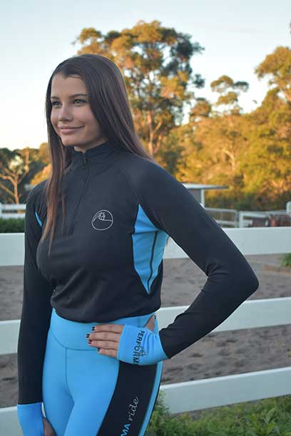 baselayer top aqua front performa ride