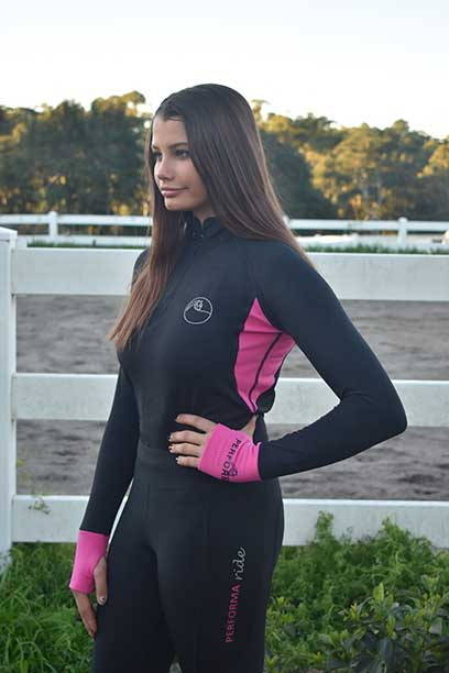 baselayer top pink front left performa ride