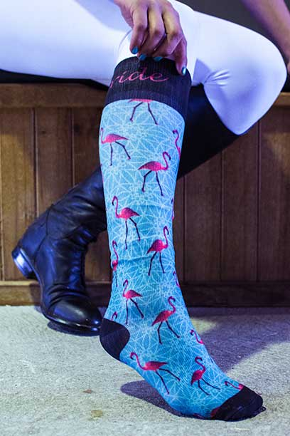 flamingo horse riding socks pattern limited edition right side performa ride