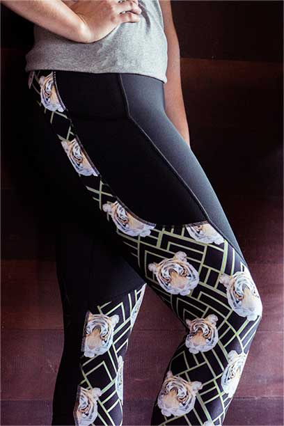 tiger horse riding tights pattern limited edition right side performa ride