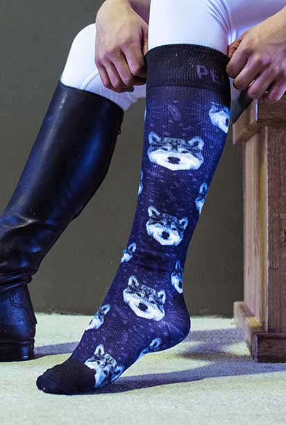 wolf horse riding socks pattern limited edition left side performa ride