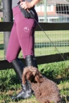 double pocket non stick riding tights grape left side dog performa ride