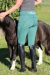 double pocket non stick riding tights teal back horse performa ride