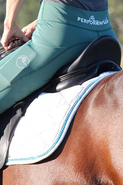 double pocket non stick riding tights teal left side horse performa ride