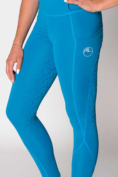 disrupt summer horse riding tights aspen blue front left close up performa ride