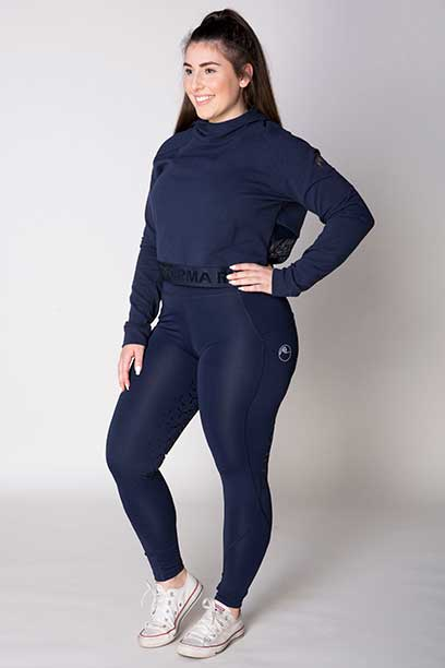 disrupt summer horse riding tights navy front left b performa ride