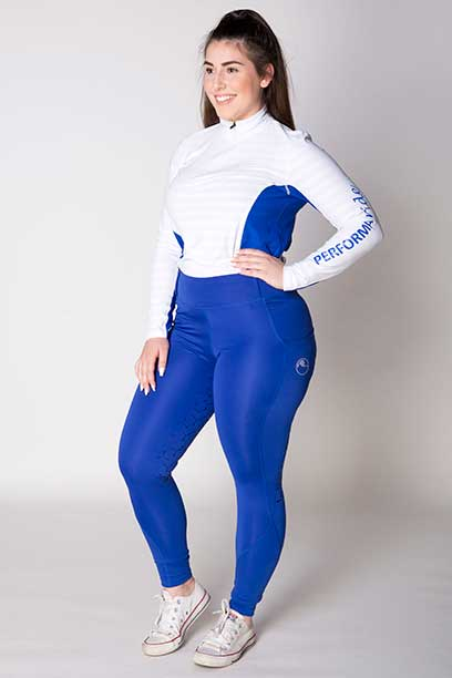 disrupt summer horse riding tights royal blue front left b performa ride