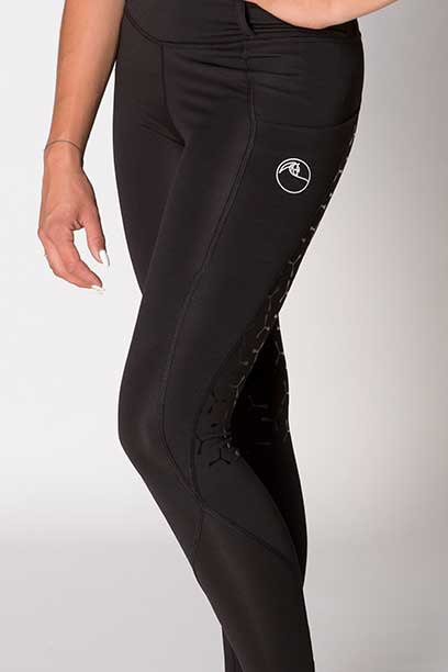 double pocket full seat equestrian riding tights black front left b performa ride