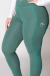 double pocket full seat equestrian riding tights green front left a performa ride