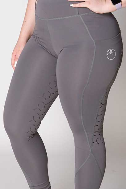double pocket full seat equestrian riding tights grey front left a performa ride
