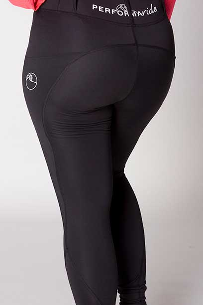 double pocket non stick equestrian riding tights back close up a performa ride