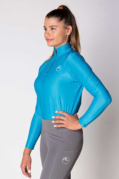 equestrian blue glacier long sleeve baselayer left side b performa ride