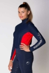 equestrian technical shirt red navy front left b performa ride