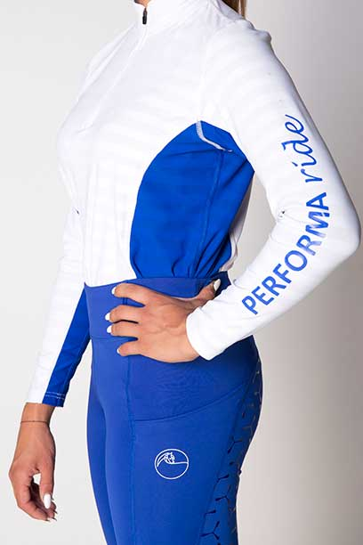 equestrian technical shirt white blue left b performa ride