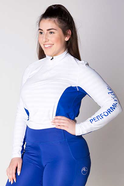 equestrian technical shirt white navy front left a performa ride