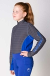 equestrian technical shirt youth grey blue front left performa ride