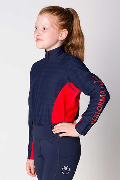 equestrian technical shirt youth red navy front left performa ride