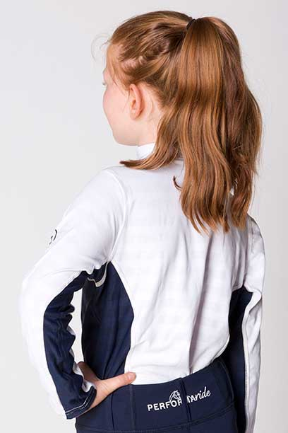 equestrian technical shirt youth white navy back left performa ride