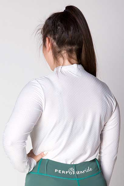 equestrian white glacier long sleeve baselayer back side a performa ride