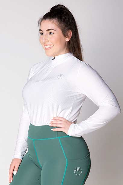 equestrian white glacier long sleeve baselayer top left side a performa ride