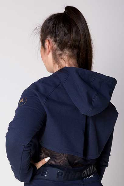 fierce equestrian riding hoodie navy back a performa ride