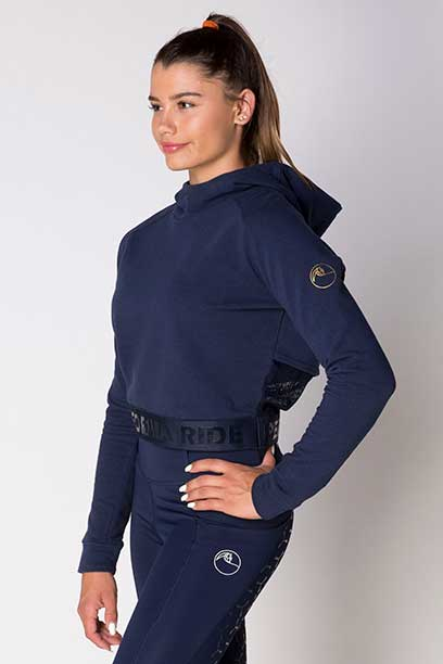 fierce equestrian riding hoodie navy front left b performa ride