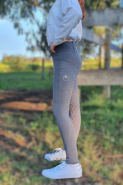 youth disrupt horse riding tights grey left performa ride