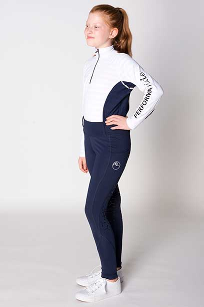 youth disrupt horse riding tights navy front left performa ride
