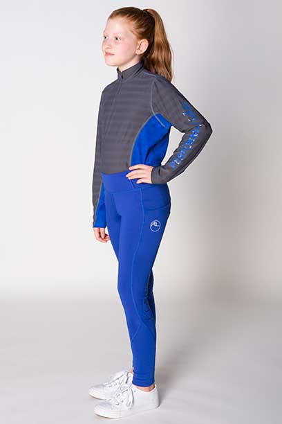 youth disrupt horse riding tights royal blue front left performa ride