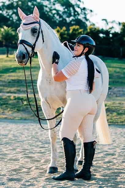equestrian riding tights chiffon flexion back left performa ride