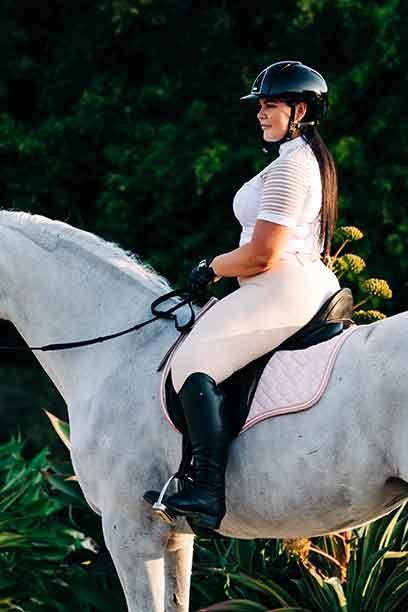 equestrian riding tights chiffon flexion on horse left side performa ride