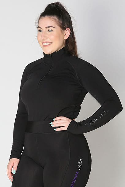 equestrian top chill base layer black front a performa ride