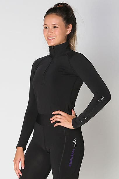 equestrian top chill base layer black front b performa ride