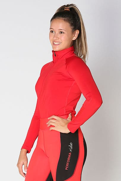 equestrian top chill base layer red front b performa ride