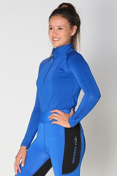 equestrian top chill base layer royal blue front b performa ride