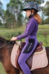 kids equestrian top chill base layer purple left side horse performa ride