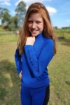 kids equestrian top chill base layer royal blue front performa ride