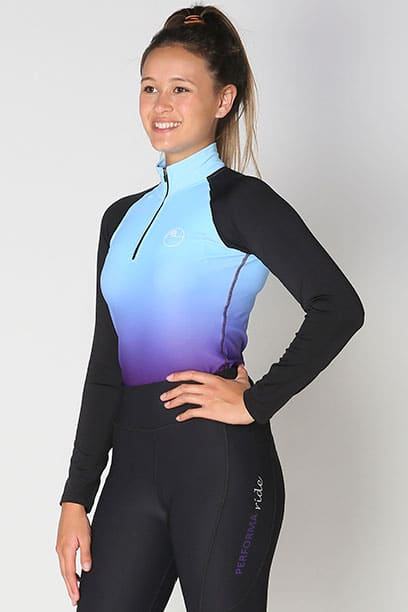 base layer equestrian top blue purple ombre front performa ride