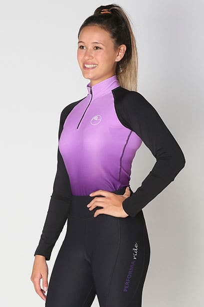base layer equestrian top purple purple ombre front left performa ride