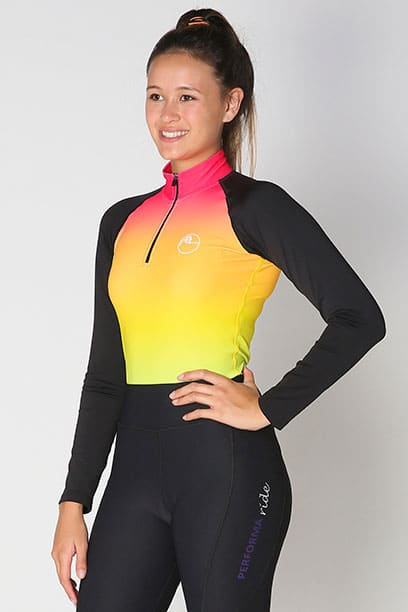 base layer equestrian top rainbow ombre front performa ride