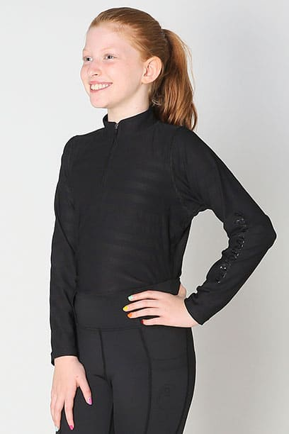 equestrian child technical long sleeve top black front left performa ride