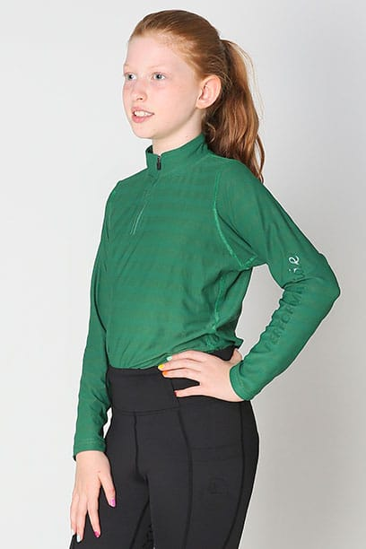 equestrian child technical long sleeve top green front left performa ride