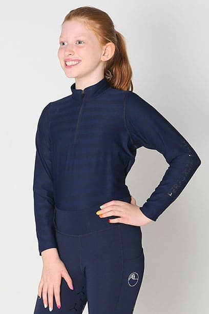equestrian child technical long sleeve top navy front left performa ride